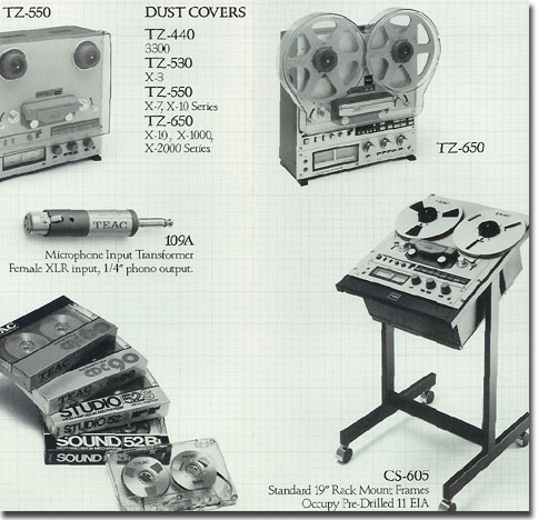 some of the reel to reel Teac recorder assessories  available in 1984