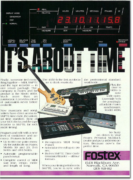 1985 ad for Fostex  reel tape recorders in the Reel2ReelTexas.com vintage recording collection