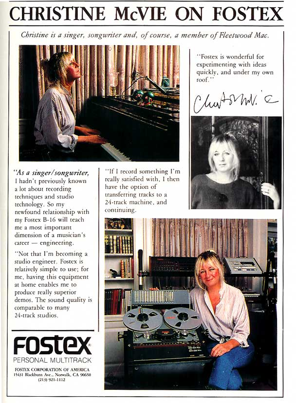 1985 ad for the Fostex B-16 reel to reel tape recorder featuring Christine McVie  in the Reel2ReelTexas.com vintage recording collection