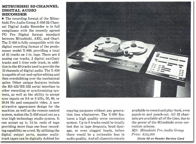 1978 ad for the Mitsubishi PCM reel tape recorder in the Reel2ReelTexas.com vintage recording collection