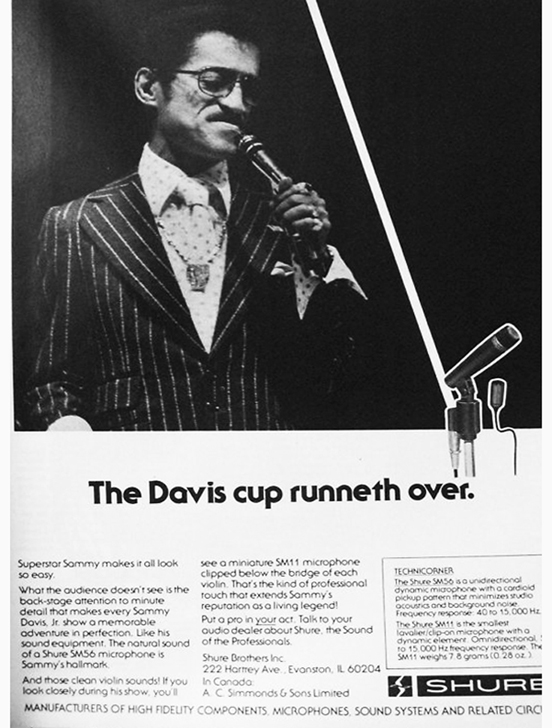 1985 ad for Shure microphones featuring Sammy Davis Jr in the Reel2ReelTexas.com vintage recording collection