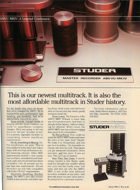 Studer reel to reel tape recorder ad in the Reel2ReelTexas.com vintage recording collection