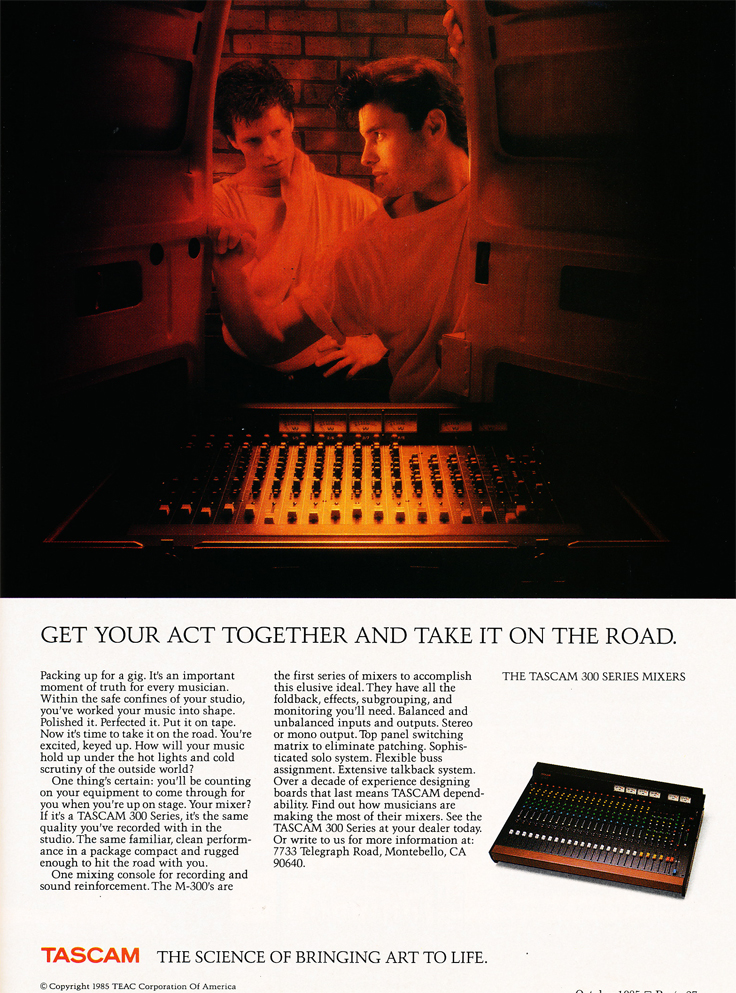 1985 Tascam 300 series mixer ad in the Reel2ReelTexas.com vintage recording collection