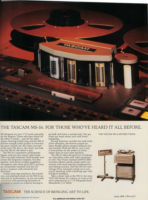 1986=5 ad for the Tascam MS-16 professional reel tape recorder in the Reel2ReelTexas.com vintage recording collection