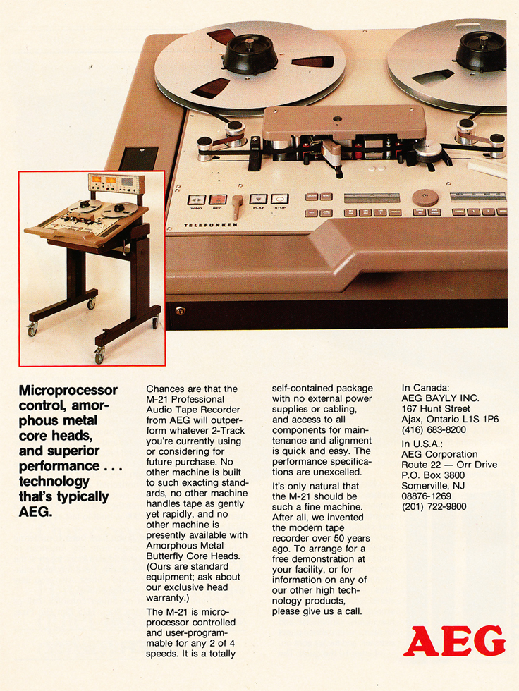 1986 ad for AEG reel to reel tape recorders in the Reel2ReelTexas.com vintage recording collection