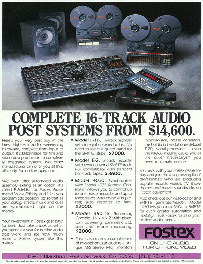 1986 ad for Fostex reel to reel tape recorders  and audio processing components  in the Reel2ReelTexas.com vintage recording collection