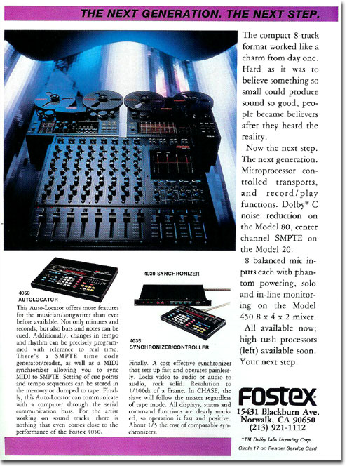 1986 ad for the Fostex Model 20 reel tape recorder in the Reel2ReelTexas.com vintage reel tape recorder recording collection