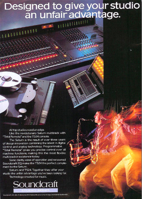 1986 Soundcraft ad for their Soundcraft Series TS24 mixing console in the Reel2ReelTexas.com vintage reel tape recorder recording collection