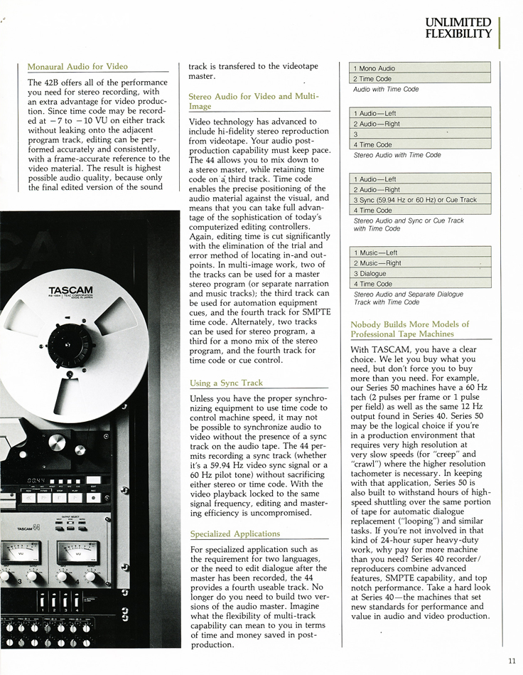 1986 ad for the Teac Tascam Series 40 professional reel to reel tape recorder in the Reel2ReelTexas.com vintage recording collection vintage recording collection