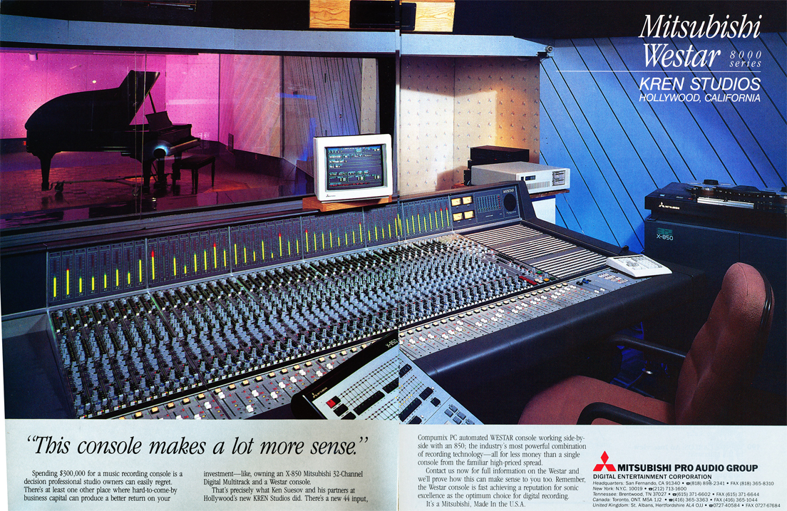 Mitsubishi $300,000 X-850 recording console ad in the Reel2ReelTexas.com vintage recording collection