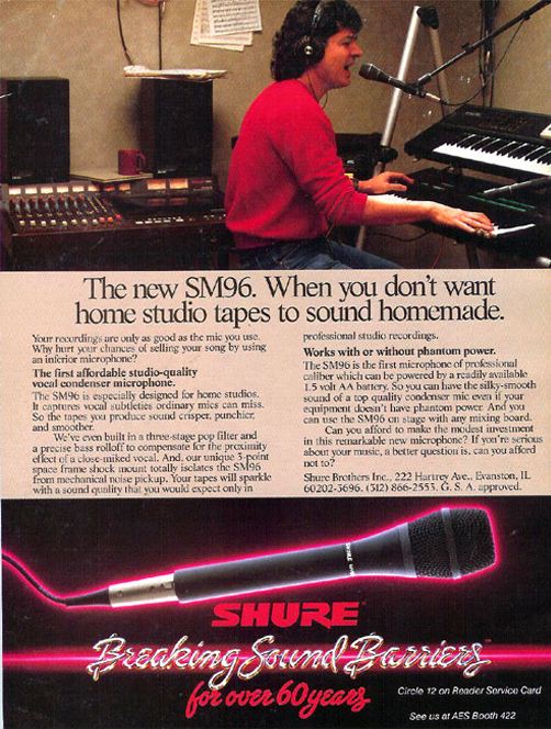 1987 Shure microphone ad in the Reel2ReelTexas.com vintage recording collection