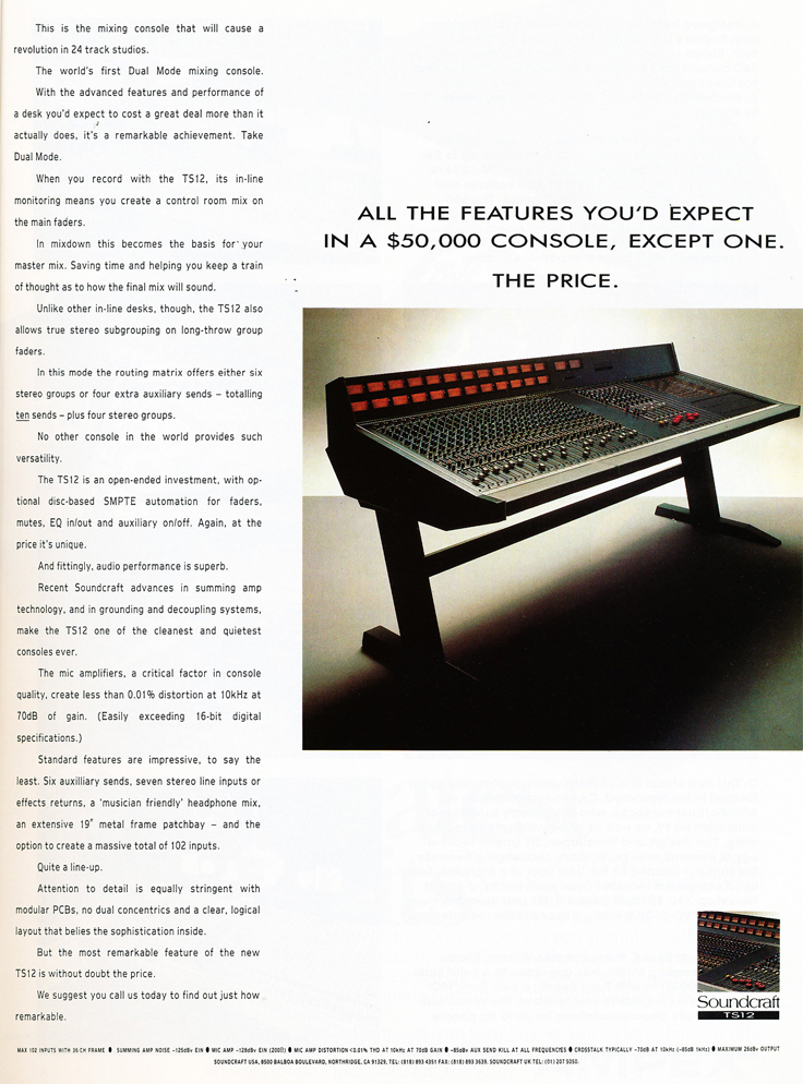 1987 Soundcraft ad for their Soundcraft Series TS12 mixing console in the Reel2ReelTexas.com vintage recording collection