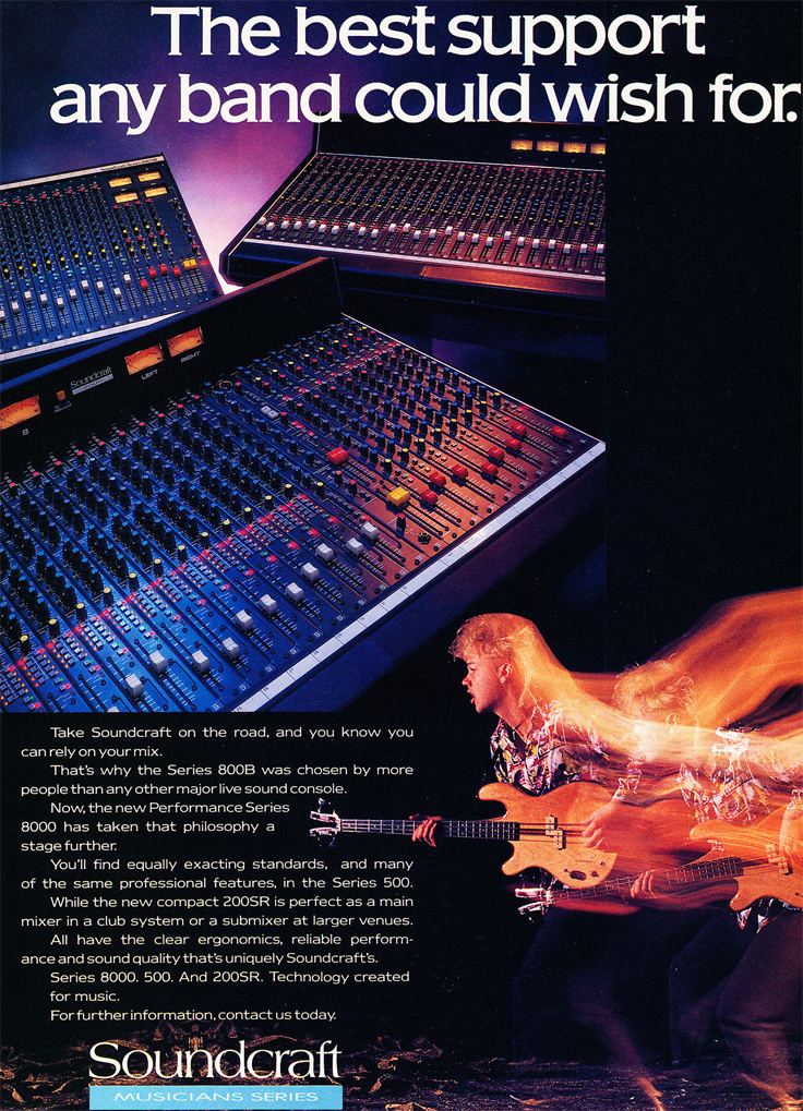 1987 Soundcraft ad for their Soundcraft Series 800B mixing console in the Reel2ReelTexas.com vintage recording collection