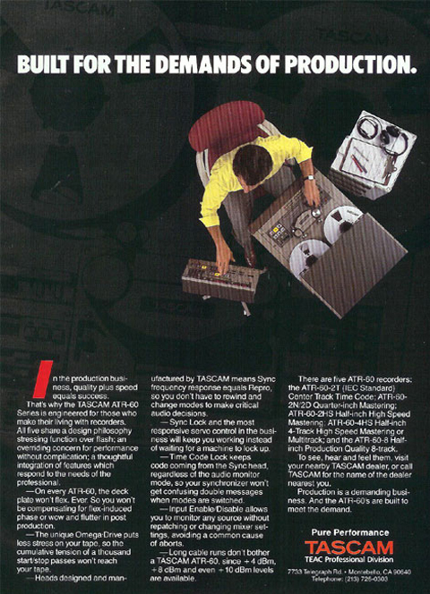 1985 ad for the Tascam ATR-60 professional reel tape recorder in the Reel2ReelTexas.com vintage recording collection