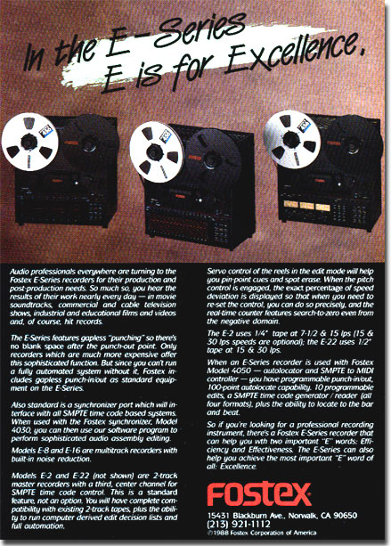 1968 ad for the Fostex E-Series reel tape recorder in the Reel2ReelTexas.com vintage recording collection
