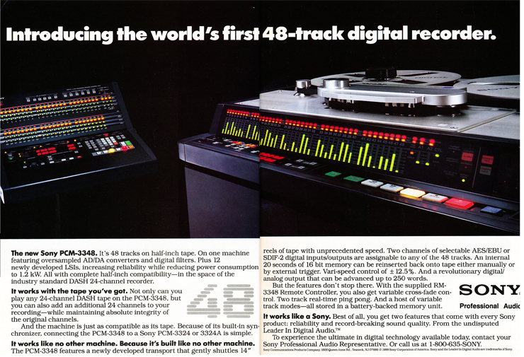 1988 ad for the Sony 48 track digital reel to reel tape recorder in the Reel2ReelTexas.com vintage recording collection
