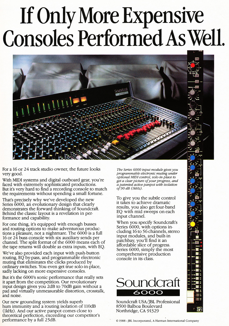 1988 Soundcraft ad for their Soundcraft Series 6000 mixing console in the Reel2ReelTexas.com vintage reel tape recorder recording collection