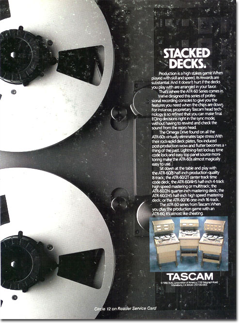 TAscam ATR-60 pro reel tape recorder ad in the Reel2ReelTexas.com vintage recording collection