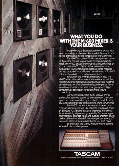 Tascam M-600 mixer ad in the Reel2ReelTexas.com vintage recording collection