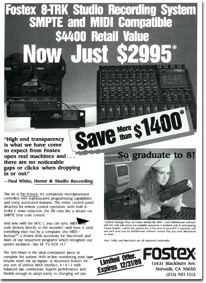 1989 ad for Fostex multi-track tape recording gearin the Reel2ReelTexas.com vintage recording collection