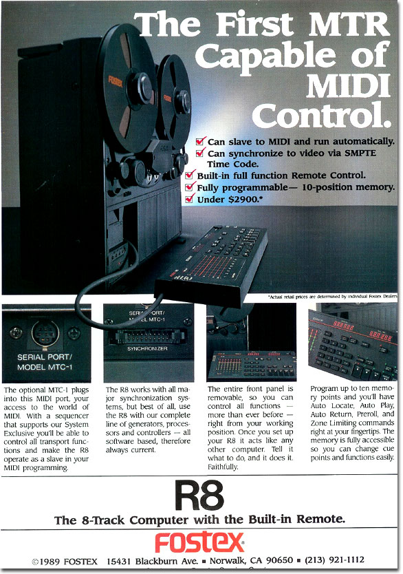 1989 ad for the Fostex R8 18 track reel tape recorder in the Reel2ReelTexas.com vintage reel tape recorder recording collection