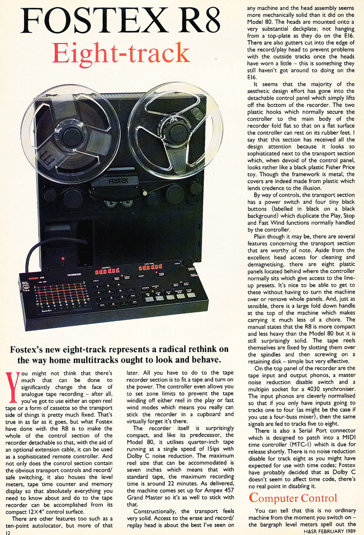 1989 ad for Fostex multi-track tape recording gearin the Reel2ReelTexas.com vintage reel tape recorder recording collection