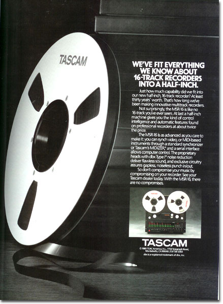 Tascam reel tape recorder ad from 1989  in the Reel2ReelTexas vintage recording collection