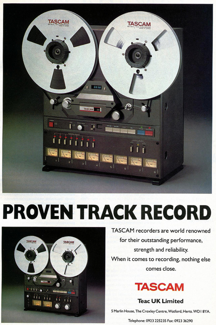 1989 ad for the Tascam 38 8 track reel to reel tape recorder in the Reel2ReelTexas.com vintage recording collection vintage recording collection.