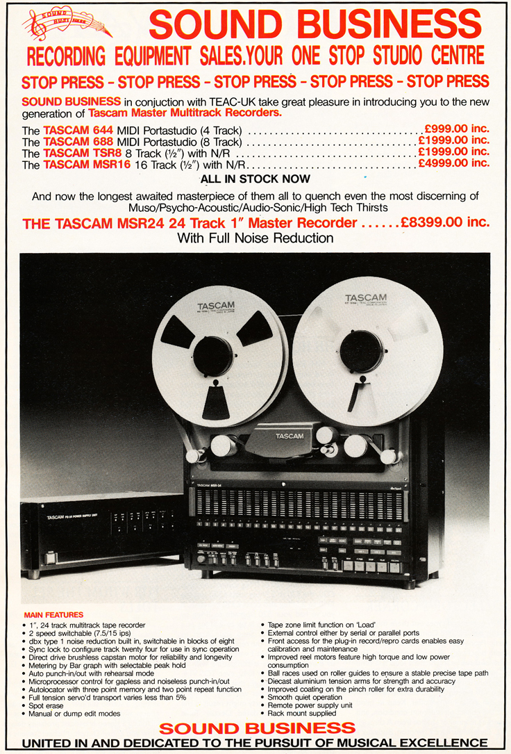 UK ad for the Tascam MSR-24 24 track professional reel tape recorder in the Reel2ReelTexas.com vintage recording collection