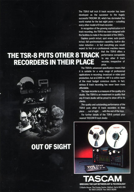 1989 ad for the Teac Tascam TRS-8 8 track professional reel to reel tape recorder in the Reel2ReelTexas.com vintage reel tape recorder recording collection Museum