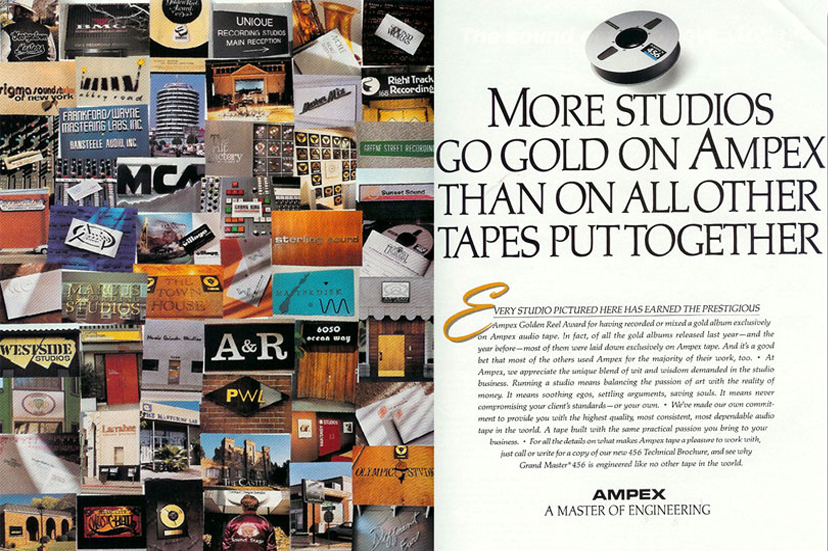 1990 ad for Ampex recording tape in the Reel2ReelTexas.com vintage recording collection