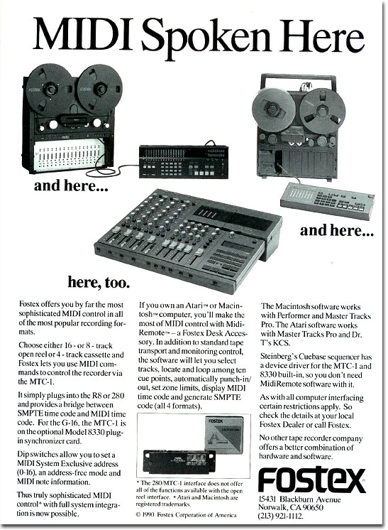 1990 ad for the Fostex multi- track reel tape recorders in the Reel2ReelTexas.com vintage recording collection