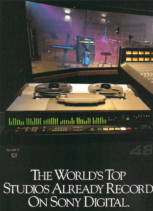 1990 ad for Sony digital reel to reel tape recorders in the Reel2ReelTexas.com vintage recording collection
