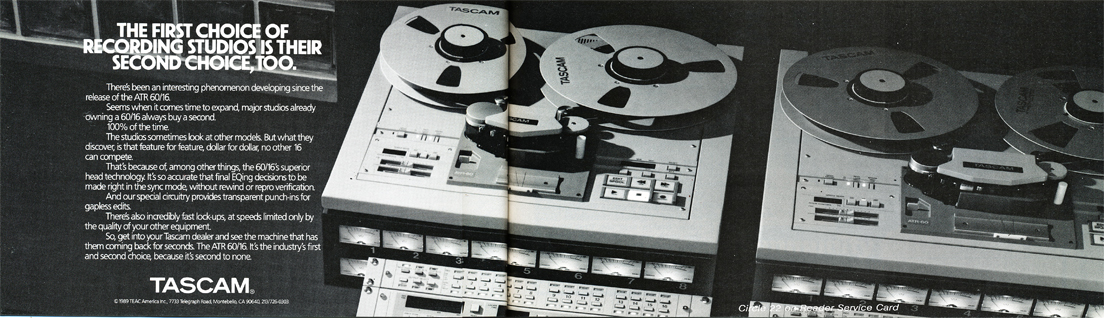 1990 ad for the Tascam ATR 60/16 professional 16 track reel to reel tape recorder in the Reel2ReelTexas.com vintage recording collection vintage recording collection