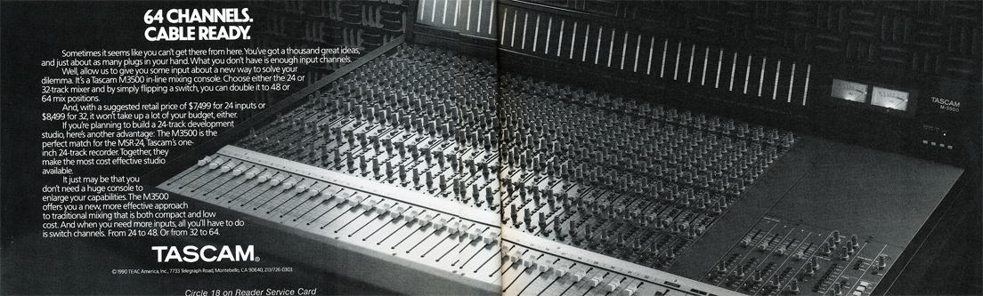 Tascam M-3500 mixing console ad in the Reel2ReelTexas.com vintage recording collection