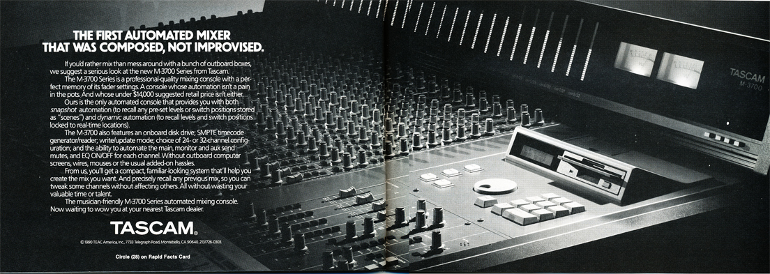 Tascam M-3700 mixing console ad in the Reel2ReelTexas.com vintage recording collection
