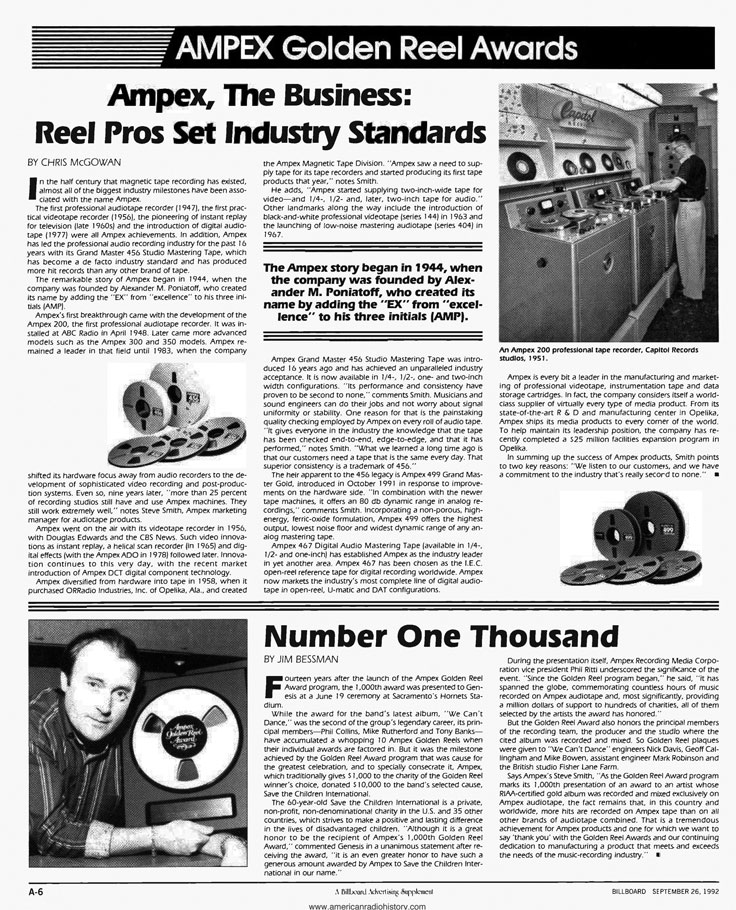 1992 Billboard Ampex Golden Reel Award information in the Reel2ReelTexas.com vintage recording collectioncollection