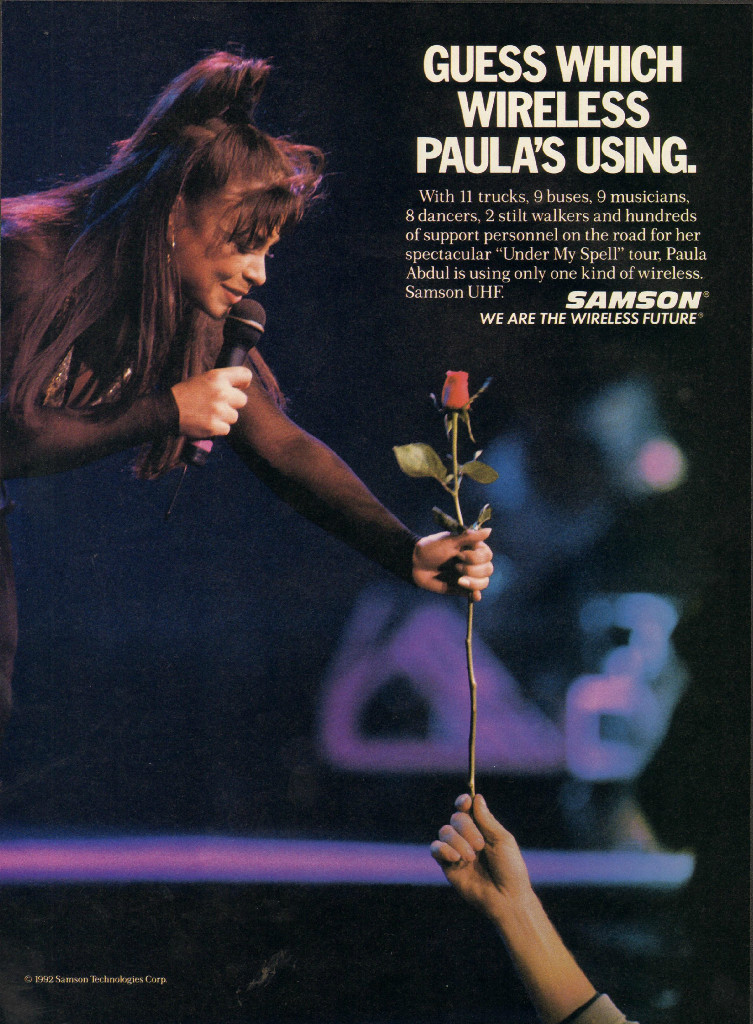 1992 ad for Samson microphones featuring Paula Abdul in the Reel2ReelTexas.com vintage recording collection