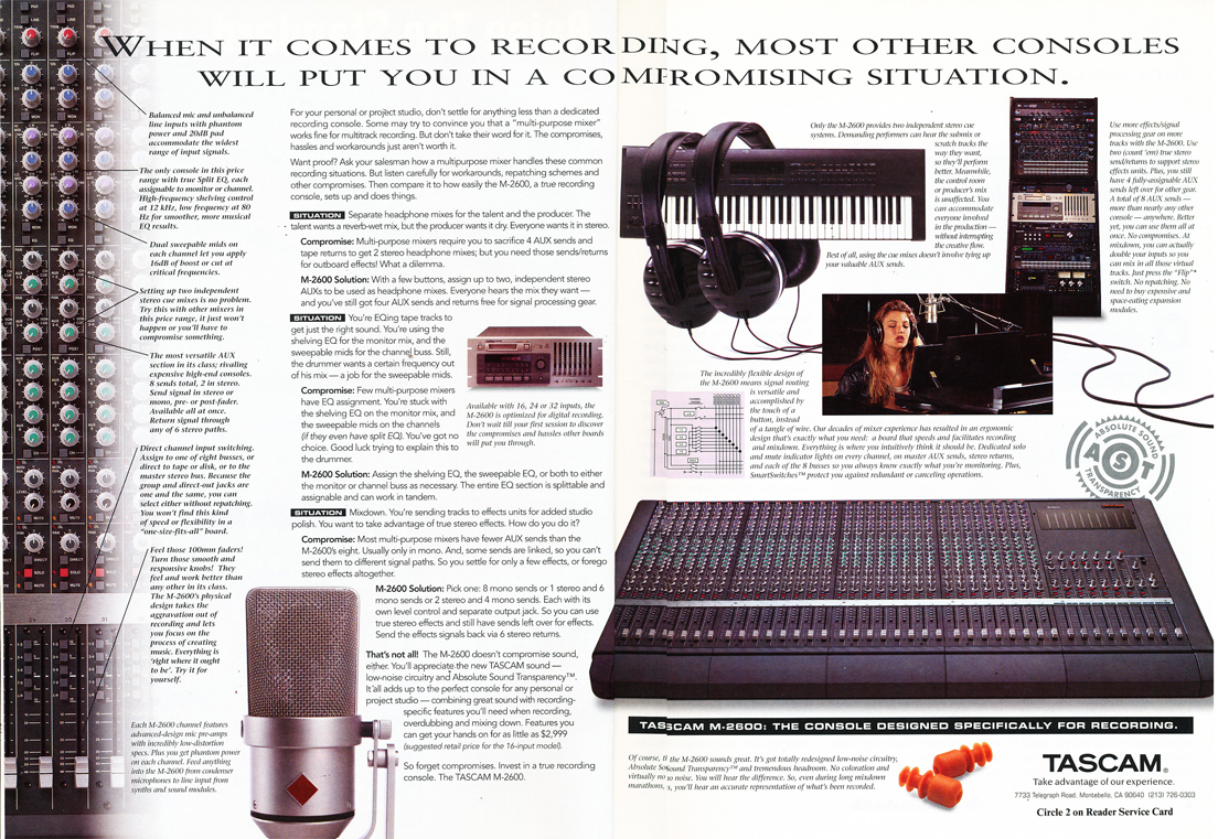 Tascam M-2600 mixing console ad in the Reel2ReelTexas.com vintage recording collection