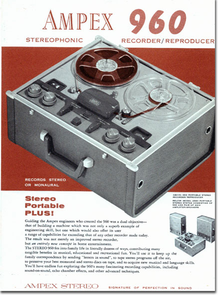 "1958 ad for the Ampex 860 'Caprice"" professional reel to reel tape recorder in the Reel2ReelTexas.com vintage recording collection"