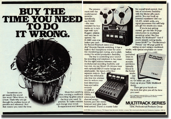 Teac ad showing the 3440 and Model 2 mixer with meter bridge