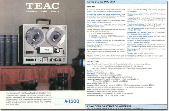 Teac A-1500U reel tape recorder ad in the Reel2ReelTexas.com vintage recording collection