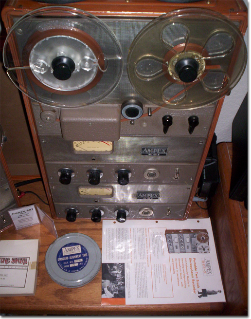 Ampex 601-2 with the 1956 Ampex A-423 console demo tape in the Reel2ReelTexas.com vintage recording collection