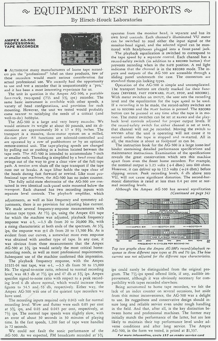 1958 review of the Ampex AG-500 professional reel tape recorder in the Reel2ReelTexas.com vintage recording collection Museum's vintage collection