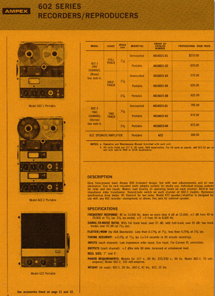 Ad for the Ampex 602 Solid State professional reel to reel tape recorder in the Reel2ReelTexas.com vintage recording collection