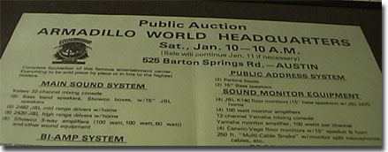 Poster for the public auction for the Armadillo World Headquarters