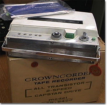 Crowncorder portable reel to reel tape recorder in the Reel2ReelTexas.com vintage recording collection