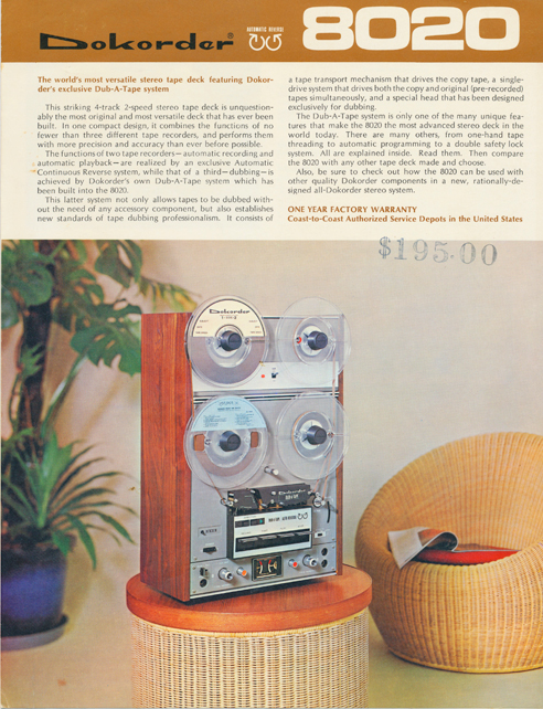 1976 ad for the Dokorder 8020 reel to reel tape recorder in the Reel2ReelTexas.com vintage recording collection