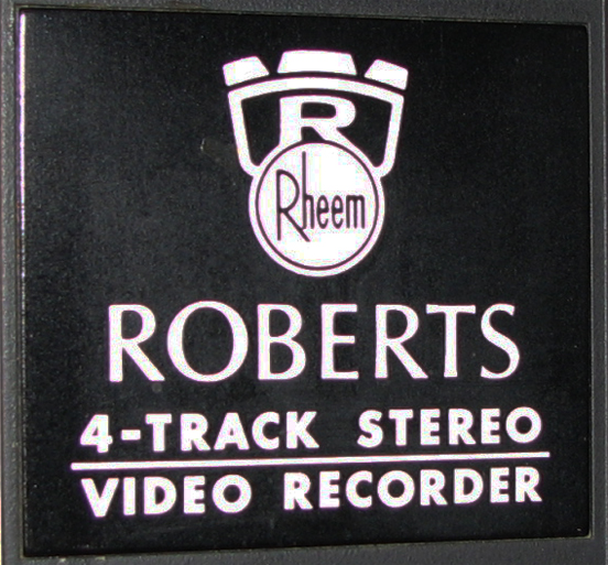 Rheem Roberts logo on reel tape recorder in Phantom productions vintage tape recorder collection