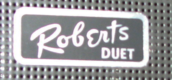 Roberts Duet logo on reel tape recorder in Phantom productions vintage tape recorder collection